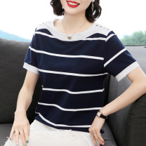 T-shirt Royal Blue White Stripe M,L,XL,2XL,3XL,4XL Summer 2020 Short sleeve Crew neck easy Regular routine commute cotton 86% (inclusive) -95% (inclusive) 30-39 years old Korean version classic Thick horizontal stripe, thin horizontal stripe, splicing Stitching, stereo decoration, buttons
