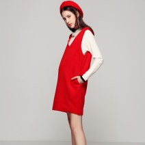 Dress S,M,L,XL Europe and America Sleeveless Medium length winter V-neck Solid color wool