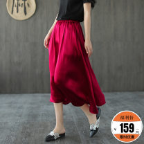 skirt Summer 2020 Average size Red, gray, black Mid length dress Type A Q1115 51% (inclusive) - 70% (inclusive) Made by Xiaoer silk