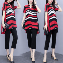Women's large Summer 2021 Black, red Large L, large XL, 2XL, 3XL, 4XL, 5XL Dress Two piece set commute moderate Socket Short sleeve Stripe, solid color Korean version Polo collar Medium length polyester Three dimensional cutting Fate of dream feather 35-39 years old pocket Cropped Trousers tassels