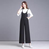 Casual pants black S,M,L,XL,2XL,3XL Summer of 2019 trousers rompers High waist commute Thin money Korean version pocket