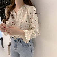 Lace / Chiffon Spring 2021 Apricot, red, black S,M,L,XL,2XL Long sleeves commute Cardigan singleton  Straight cylinder Regular V-neck Decor pagoda sleeve 25-29 years old Pleating, pleating, three-dimensional decoration Korean version 96% and above cotton