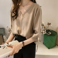 Lace / Chiffon Summer of 2018 Khaki, white, green S,M,L,XL,2XL,3XL,4XL Short sleeve commute Socket easy Medium length V-neck Solid color routine 18-24 years old Korean version polyester fiber