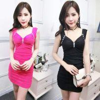 Dress Summer 2020 White, black, rose, pink, red, yellow, blue S,M,L,XL Short skirt singleton