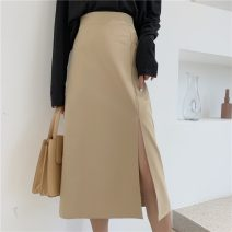 skirt Spring 2021 S,M,L Mid length dress commute Natural waist A-line skirt Solid color Type A 18-24 years old 51% (inclusive) - 70% (inclusive) Korean version