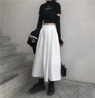 skirt Autumn 2020 Average size white Mid length dress Versatile High waist A-line skirt Solid color Type A 18-24 years old 51% (inclusive) - 70% (inclusive) other polyester fiber