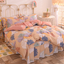 Bedding Set / four piece set / multi piece set cotton Quilting Plants and flowers 128x68 Happiness posture cotton 4 pieces 40 Bedskirt bedspread Qualified products Countryside 100% cotton twill Reactive Print  MTZ-2011231425 Thermal storage