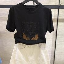 T-shirt black 2 = s, 3 = m, 4 = L, 5 = XL Spring 2021 Short sleeve Crew neck easy routine commute cotton 51% (inclusive) - 70% (inclusive) Korean version Cartoon animation Brother amashi Diamond inlay