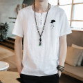 T-shirt Youth fashion Black, white thin M,L,XL,2XL,3XL,4XL,5XL Others Short sleeve Crew neck easy Other leisure summer youth routine Chinese style 2021 Embroidery Cotton and hemp No iron treatment
