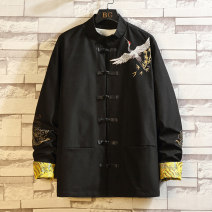 Jacket Other / other Fashion City black M,L,XL,2XL,3XL,4XL,5XL routine standard Other leisure autumn Long sleeves Wear out stand collar Chinese style Large size routine Single breasted 2020 Straight hem No iron treatment Loose cuff Animal design Seldingham Embroidery Save pocket polyester fiber