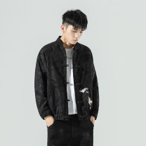 Jacket Other / other Youth fashion Black, light grey M,L,XL,2XL,3XL,4XL,5XL routine easy Other leisure Four seasons A58 Long sleeves Wear out stand collar Chinese style youth routine Single breasted Cloth hem No iron treatment Closing sleeve Animal design Embroidery Side seam pocket