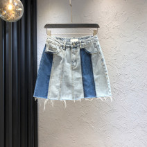 skirt Summer 2020 S,M,L,XL blue Short skirt street High waist A-line skirt Solid color Type A 18-24 years old 71% (inclusive) - 80% (inclusive) Denim cotton Color contrast Europe and America
