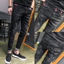 Jeans Youth fashion Others 28,29,30,31,32,33,34 Navy, black, 8003 black, 8003 blue Micro bomb Regular denim trousers Other leisure teenagers Slim feet 2019 Pencil pants zipper Three dimensional tailoring