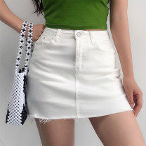 skirt Summer of 2019 XS,S,M,L Light blue, gray, black, white, army green, khaki Short skirt street High waist Solid color 18-24 years old 91% (inclusive) - 95% (inclusive) Denim Other / other other