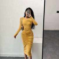 Dress Autumn of 2019 Black, yellow S,M,L singleton  Long sleeves Crew neck Solid color Others