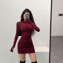 Dress Autumn of 2019 S,M,L Short skirt singleton  Long sleeves High collar High waist Solid color Socket Other / other