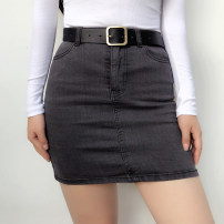 skirt Summer of 2019 S,M,L Black grey, denim blue Short skirt High waist Solid color 18-24 years old Other / other