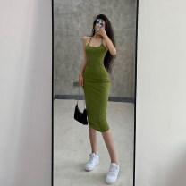 Dress Summer 2020 Khaki, black, fruit green S, M Mid length dress singleton  18-24 years old