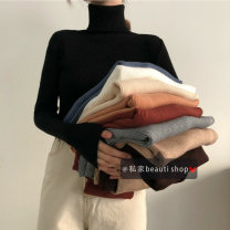 Wool knitwear Winter of 2019 Average size Long sleeves singleton  Socket acrylic fibres 91% (including) - 95% (excluding) Regular routine commute Self cultivation High collar other Solid color Socket Korean version 18-24 years old Other / other