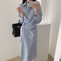 Dress Summer 2020 Blue, black Average size Mid length dress singleton  Long sleeves commute High waist Solid color Single breasted Irregular skirt routine Others 18-24 years old Type H Other / other Korean version 71% (inclusive) - 80% (inclusive)