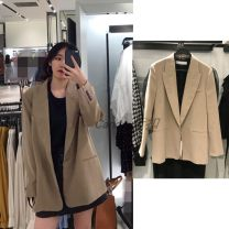 suit Autumn of 2019 khaki XS,S,M,L Long sleeves routine easy tailored collar A button routine Solid color URBFHM