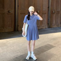 Dress Summer 2021 Blue, black Average size Middle-skirt singleton  Short sleeve commute Polo collar High waist Solid color Socket Pleated skirt routine Type A Korean version Button 51% (inclusive) - 70% (inclusive) polyester fiber