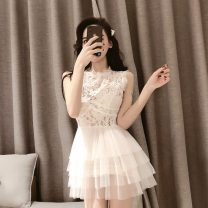 Dress Summer 2021 white S,M,L Miniskirt singleton  Sleeveless commute Crew neck High waist Solid color Socket Princess Dress other Others 18-24 years old Type A Korean version Gauze, lace
