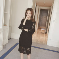Dress Fall 2017 White, black S,M,L,XL,2XL,3XL Mid length dress singleton  three quarter sleeve commute stand collar Loose waist Decor Socket A-line skirt bishop sleeve 18-24 years old Type A Emelin / Irene Korean version Gouhua, hollowed out, zipper, lace 81% (inclusive) - 90% (inclusive) Lace