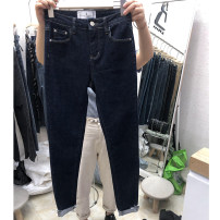 Women's large Spring 2020, spring 2021 Dark blue, dark blue velvet Large L, large XL, large XXL, large XXXL, large XXXXL, small m Jeans singleton  commute Straight cylinder thick Solid color Korean version Denim, cotton, other Three dimensional cutting 25-29 years old pocket trousers