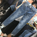 Women's large Spring 2020, autumn 2020 Jeans commute Straight cylinder moderate Korean version Denim Three dimensional cutting Asymmetry Ninth pants