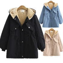 Women's large Winter of 2019 Blue, black, khaki cotton-padded clothes singleton  commute easy thickening Cardigan Long sleeves Solid color Korean version Hood Medium length 81% (inclusive) - 90% (inclusive) Cotton 81% - 90%