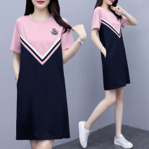 Women's large Summer 2020 Pink, blue grey L [within 100 kg recommended], XL [100-120 kg recommended], 2XL [120-140 kg recommended], 3XL [140-160 kg recommended], 4XL [160-180 kg recommended], 5XL [180-200 kg recommended] Dress singleton  moderate Socket Short sleeve Crew neck cotton 3555# other