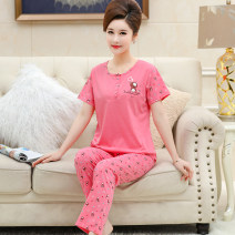 Pajamas / housewear set female Other / other cotton Short sleeve Sweet pajamas summer Thin money Crew neck Plants and flowers trousers Socket middle age 2 pieces rubber string More than 95% pure cotton printing 200g and below