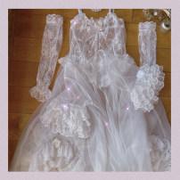 Dress Spring 2021 Mermaid skirt single piece, mermaid skirt + arm cover, white gauze small blouse, apricot base suspender skirt S, M Mid length dress Three piece set polyester fiber