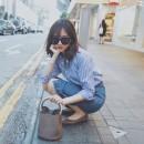 Sports suit Blue stripe shirt + denim hip skirt 29338L54109 Auden female S M L XL Long sleeves Lapel Spring 2020