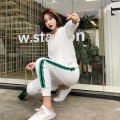Sports suit White two piece set Auden female S M L XL Long sleeves stand collar trousers Cardigan Spring 2020 cotton