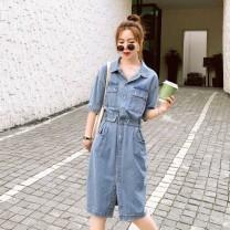 Sports dress female Auden Picture color S M L Summer 2020 Short sleeve Socket Lapel cotton