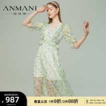 Dress Summer 2021 green S M L XL longuette elbow sleeve Sweet V-neck High waist zipper Big swing bishop sleeve 25-29 years old Type X Emmanuel Ruffle printing EANBBA53 More than 95% other polyester fiber Polyester 100% Countryside Same model in shopping mall (sold online and offline)