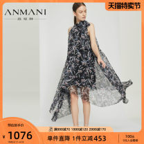 Dress Summer of 2018 black S M L XL Mid length dress singleton  Sleeveless commute stand collar middle-waisted other Irregular skirt other 25-29 years old Emmanuel Ol style printing K3263604 More than 95% polyester fiber Polyester 100% Same model in shopping mall (sold online and offline)