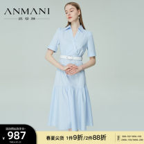 Dress Summer 2021 Light blue S M L XL longuette Short sleeve commute V-neck zipper routine 25-29 years old Type X Emmanuel Simplicity More than 95% other other Other 100% Same model in shopping mall (sold online and offline)