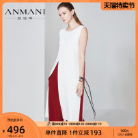 Dress Spring of 2018 White black S M L XL longuette singleton  Sleeveless commute Crew neck middle-waisted Solid color Socket other other Others 25-29 years old Emmanuel lady K3064914 30% and below polyester fiber Viscose (viscose) 83.8% polyester 16.2%