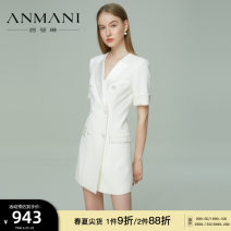 Dress Summer 2021 White (10 days in advance) black (30 days in advance) milk tea (30 days in advance) S M L XL Short skirt Short sleeve commute tailored collar High waist double-breasted A-line skirt 25-29 years old Type X Emmanuel lady Diamond inlay EANBBA06 More than 95% other other Other 100%