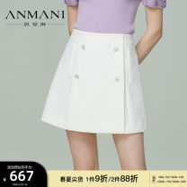 skirt Summer 2021 S M L XL Black and white Short skirt commute High waist A-line skirt Type A 25-29 years old EANBBG44 91% (inclusive) - 95% (inclusive) Anmani / enmanlin polyester fiber Button Simplicity Polyester 92% polyurethane elastic fiber (spandex) 8%