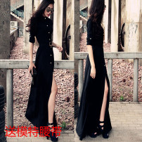 Dress Spring of 2019 Fashion Black S,M,L,XL,2XL,3XL,4XL longuette singleton  Long sleeves street Polo collar High waist Solid color Single breasted Big swing shirt sleeve 25-29 years old Button 81% (inclusive) - 90% (inclusive) other polyester fiber Europe and America