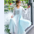 Dress Summer 2017 Turquoise S,M,L,XL longuette singleton  three quarter sleeve commute Crew neck middle-waisted Solid color Socket Big swing pagoda sleeve Retro Embroidery Chiffon