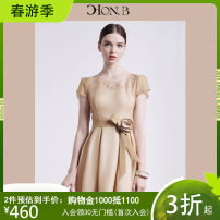 Dress Summer of 2018 Light brown naked powder S M L XL XXL Mid length dress singleton  Short sleeve commute Crew neck High waist Solid color zipper Pleated skirt Petal sleeve Others 25-29 years old Type A Hong beiti Ol style Embroidered lace L8M1049 More than 95% polyester fiber Polyester 100%