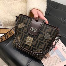 Bag The single shoulder bag PU Bucket bag Other / other brand new Japan and South Korea Small leisure time soft Buckle no written words Single root One shoulder cross carry nothing youth Trapezoid printing Soft handle polyester fiber printing