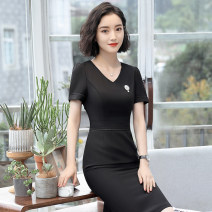 Dress Summer of 2018 Short sleeve blue dress short sleeve black dress S M L XL XXL XXXL Middle-skirt singleton  Short sleeve commute V-neck High waist Solid color Socket One pace skirt routine Others 25-29 years old See sunny / Qin Chen Ol style Three dimensional mosaic decoration QC-YL1803