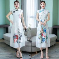 cheongsam Summer 2021 M,L,XL,2XL,3XL,4XL Blue, black Short sleeve Retro High slit daily Oblique lapel Decor