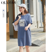 Women's large Summer 2021 Off white, off blue, off blue, off white- XL 2XL 3XL 4XL 5XL 6XL Dress singleton  commute easy moderate Socket Short sleeve Korean version Crew neck cotton Three dimensional cutting QLXQG1275EGY Delicate and beautiful 25-29 years old 96% and above Middle-skirt Cotton 100%